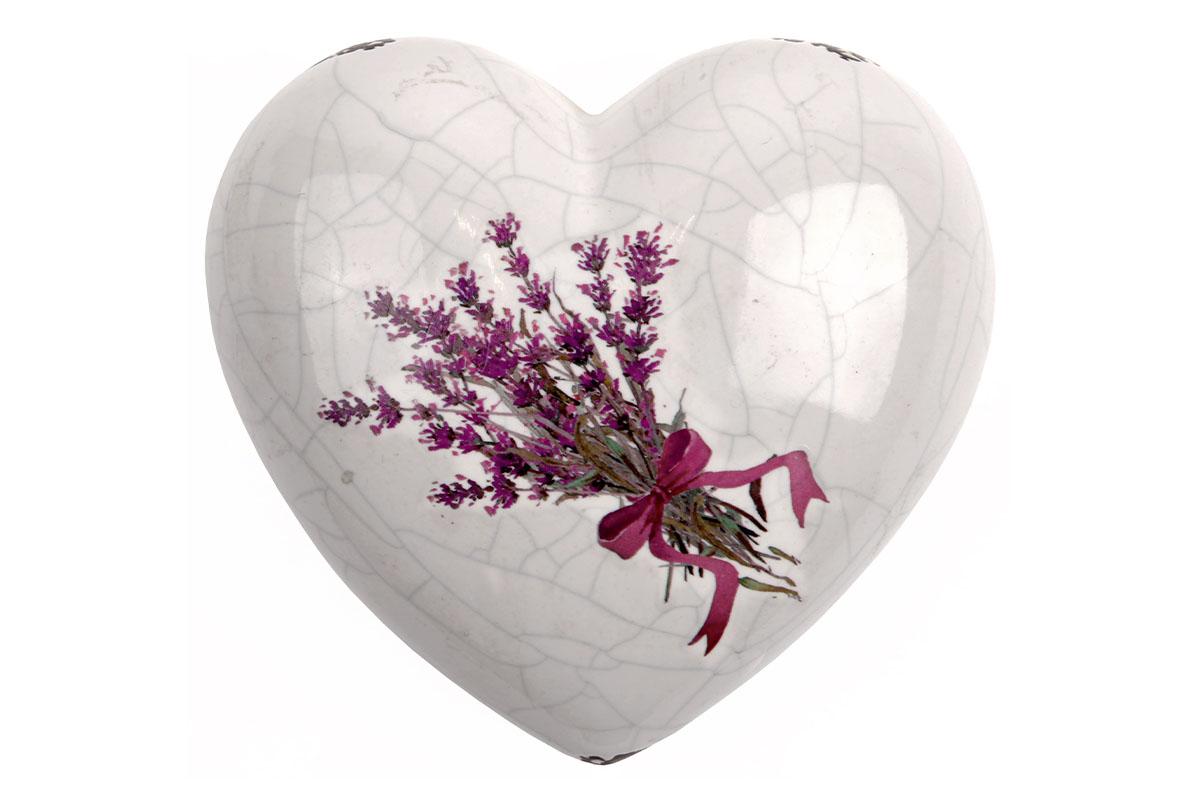 Keramické srdce s motívom levandule