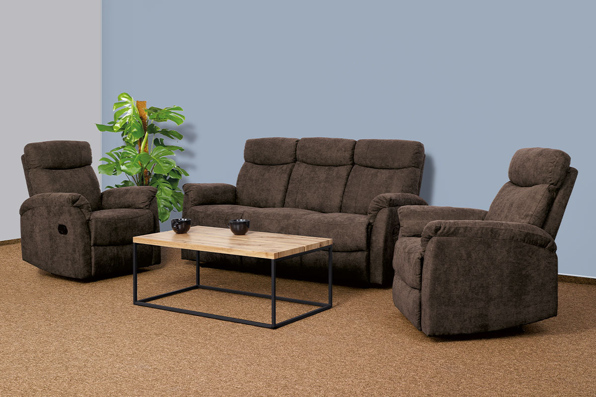 3+1+1 Sofa (with 3 function), BROWN FABRIC 0952