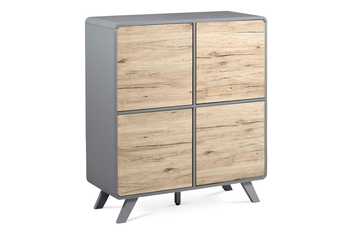 Highboard, paper veneer + dark grey matte-ASL-651 OAK