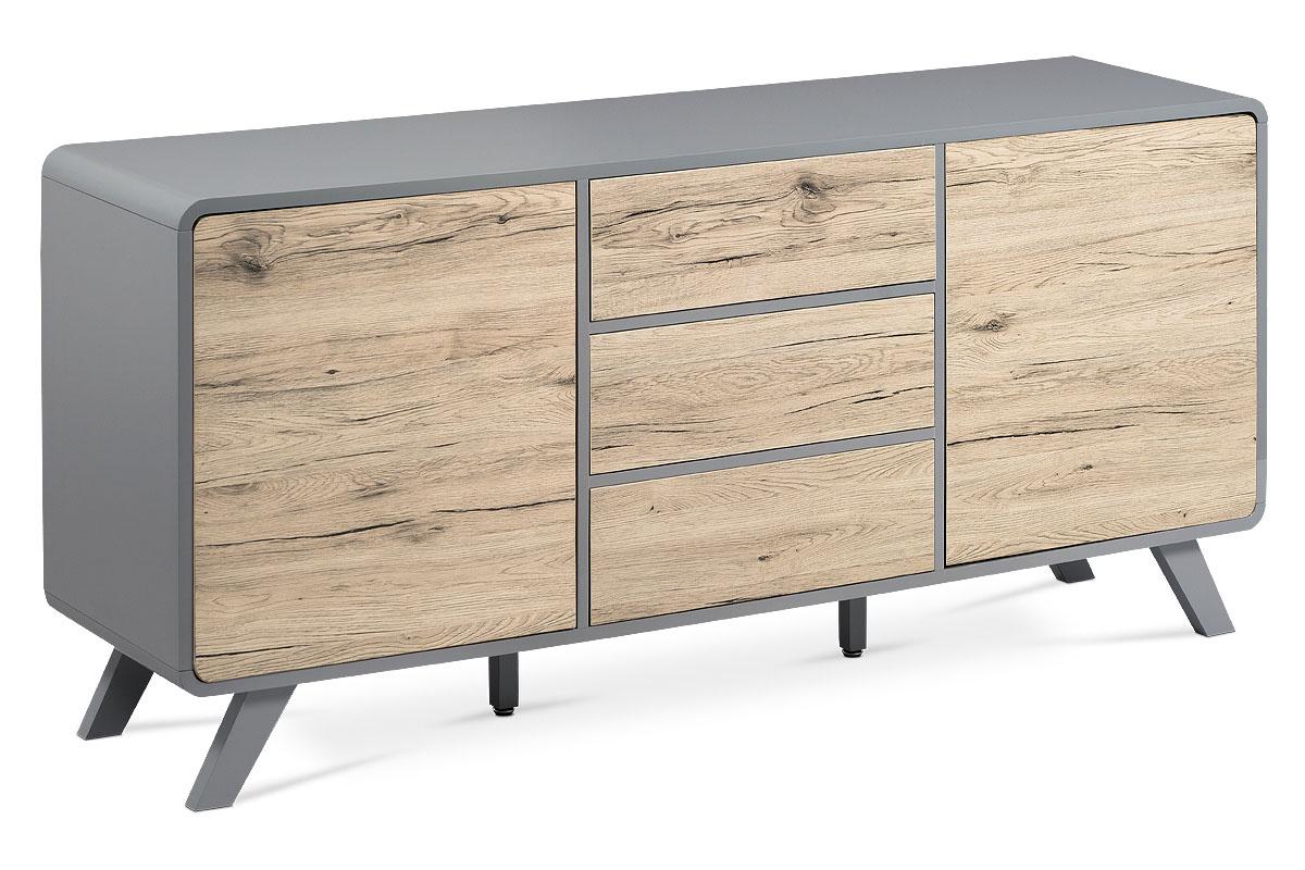 Sideboard, paper veneer + dark grey matte-ASL-652 OAK