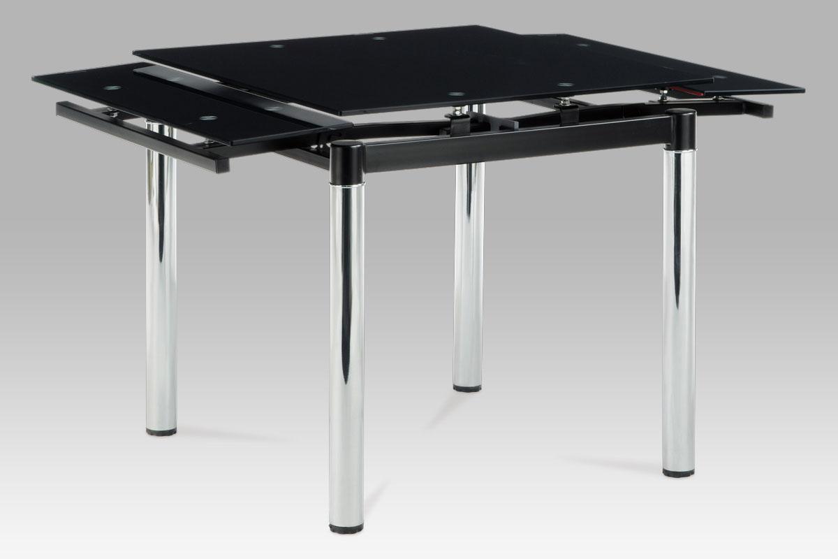 jedálenský stôl rozkladací 120+80x80, sklo čierne, chróm