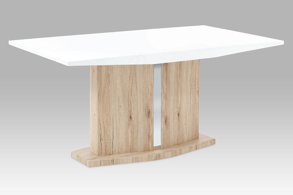 jedálenský stôl 160x90 cm, vysoký lesk biely / san remo