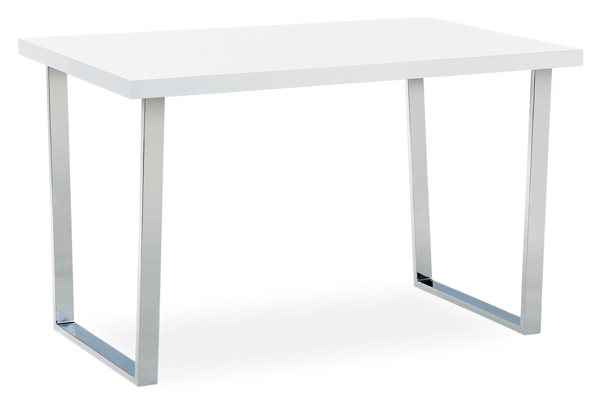 DINING TABLE 120x75 BRIGHT WHITE PAINT TOP/CHROME