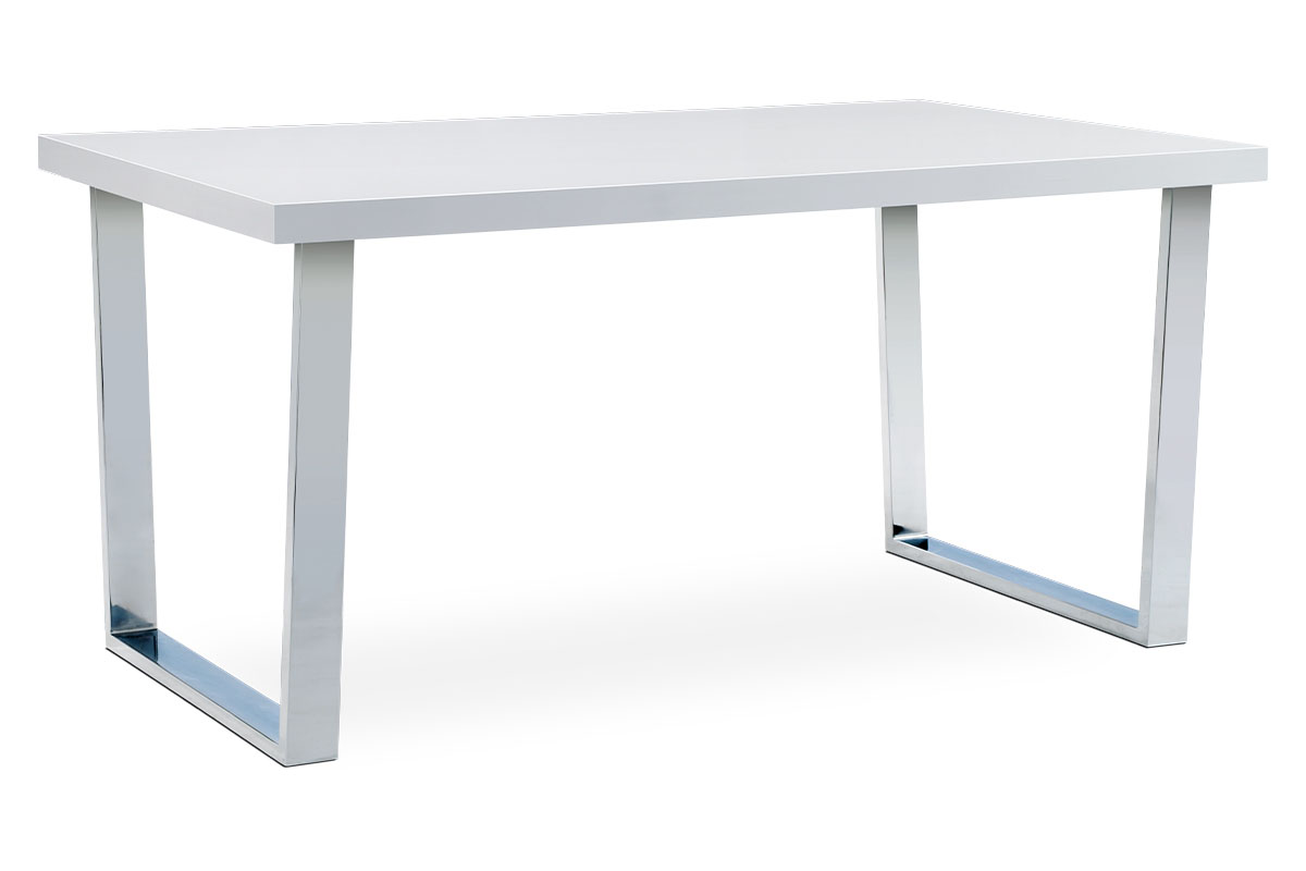 DINING TABLE 150X90 BRIGHT WHITE PAINT TOP/CHROME