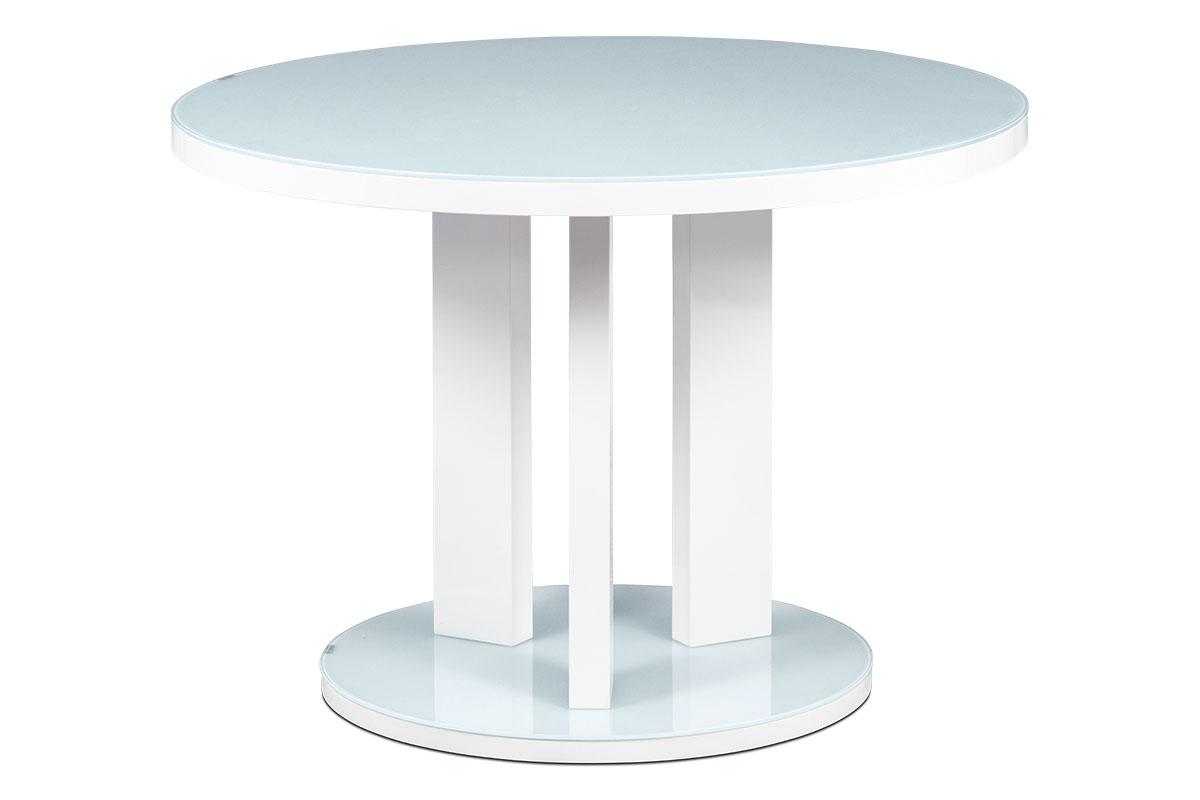 jedálenský stôl pr.108 x 76, korpus biely vysoký lesk+sklo