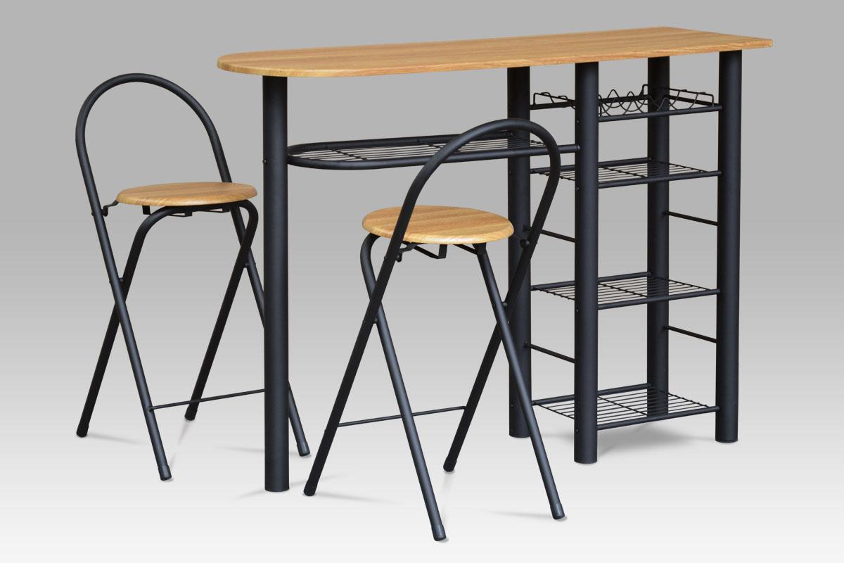 barový set (1+2), MDF dub, kov čierny mat-AUB-2000 OAK