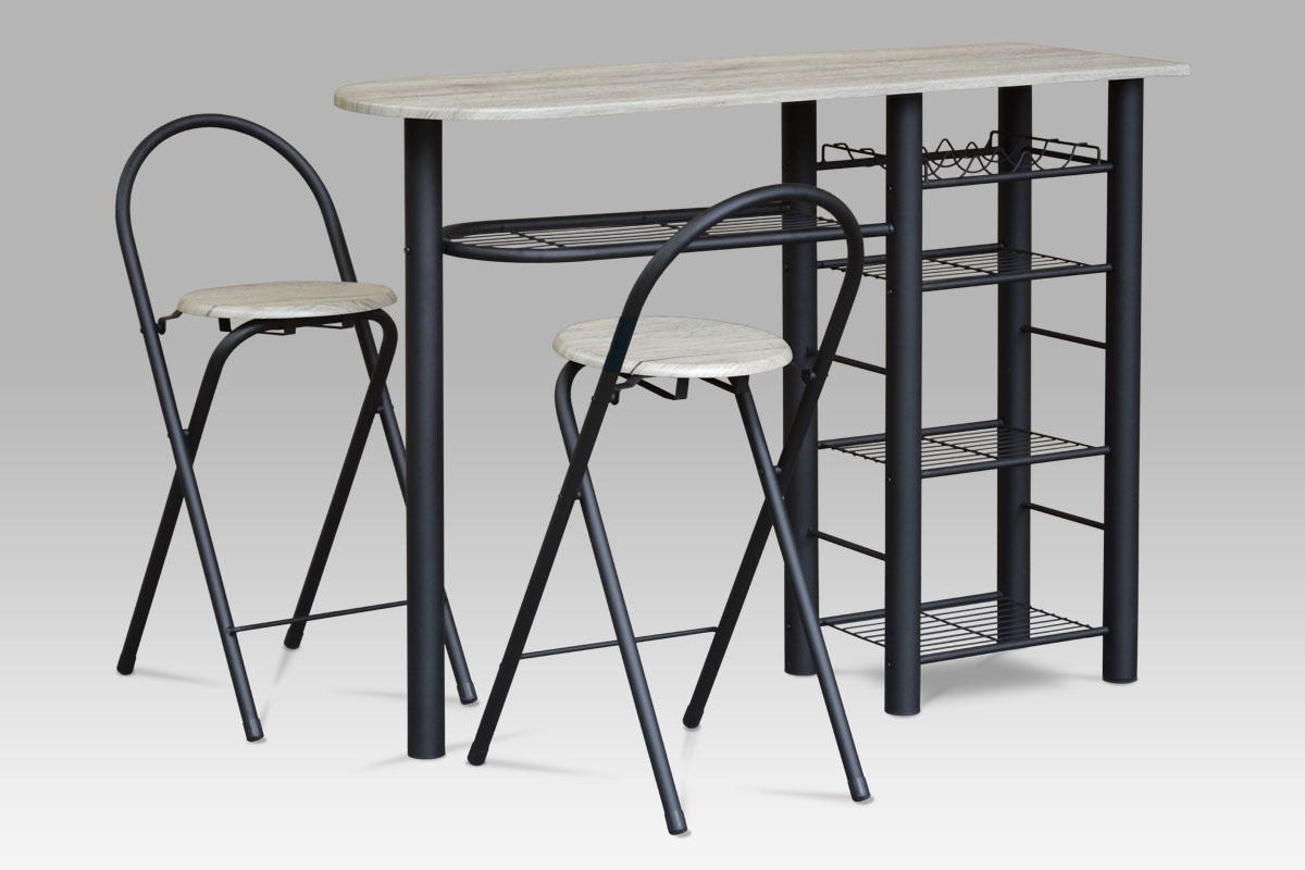 barový set (1+2), MDF san-remo, kov čierny mat-AUB-2000 SRE