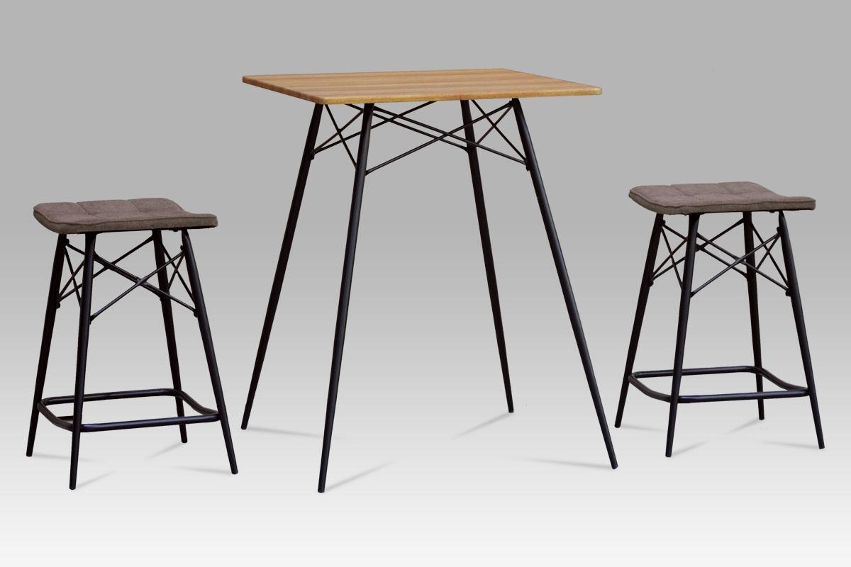 barový  set (1+2), MDF dub, látka šedá, kov matný čierny-AUB-2005 OAK