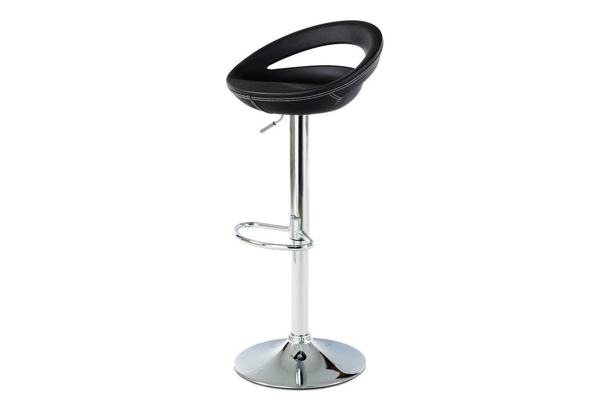 Barstool Black PU, chromed base with gas lift