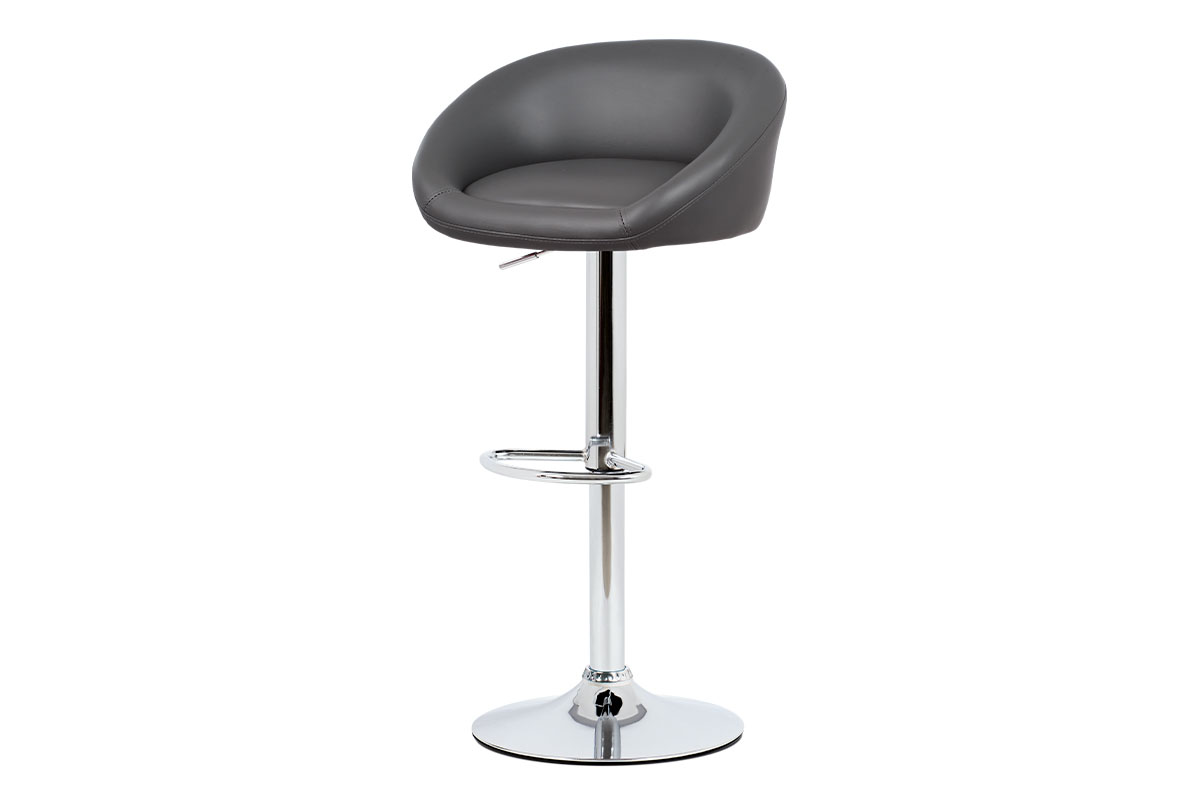 Barstool Grey PU, chromed base with gas lift