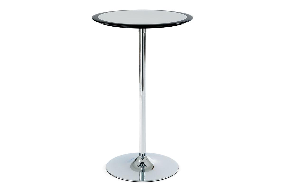 barový stôl, plast čierno/strieborný, pr.60cm-AUB-6050 BK