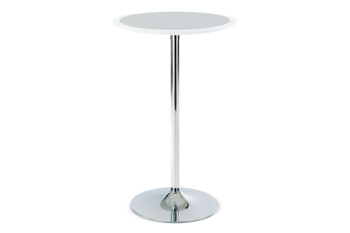 barový stôl, plast bielo/strieborný, pr.60cm-AUB-6050 WT