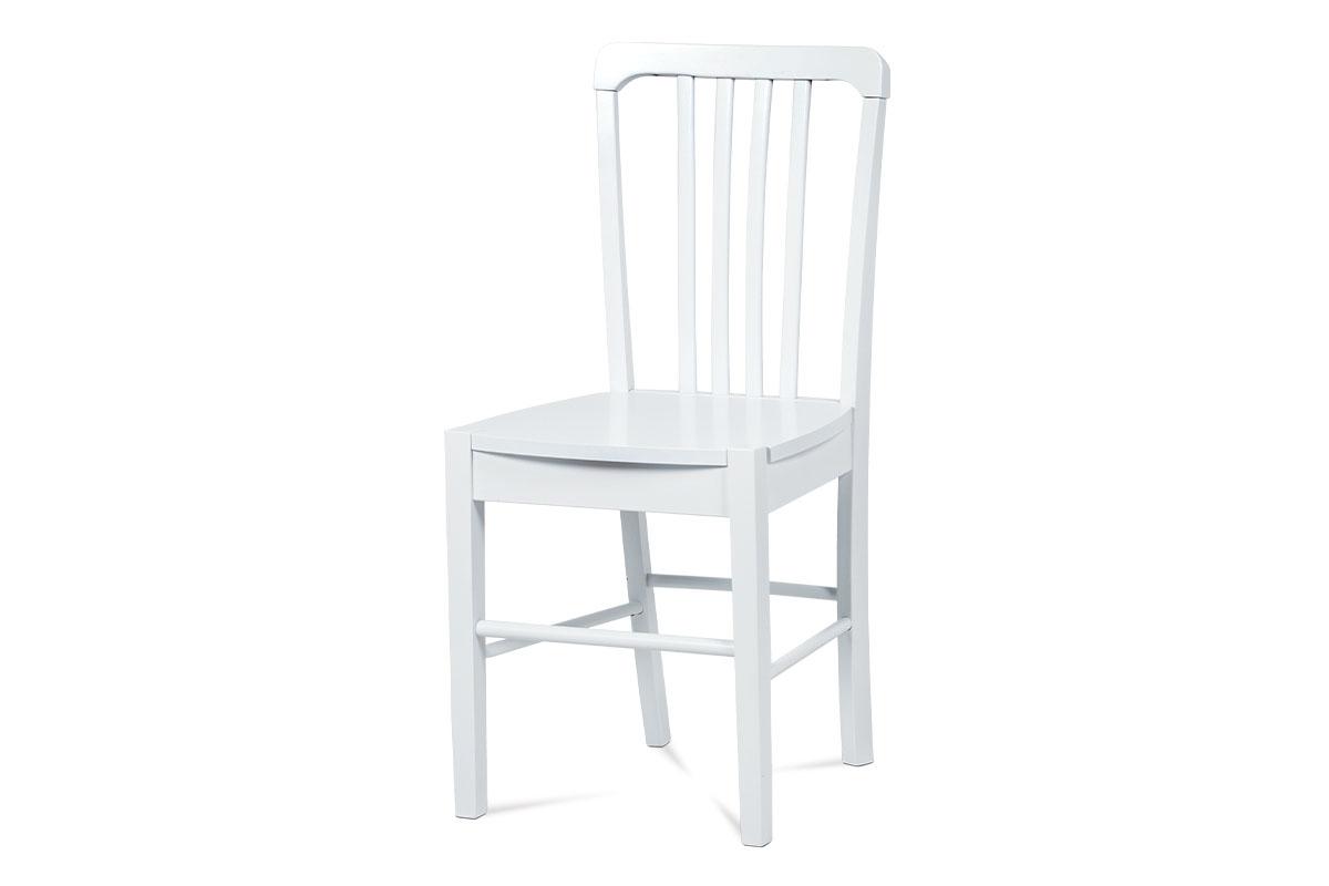 jedálenská stolička, biela/sedák drevený-AUC-006 WT