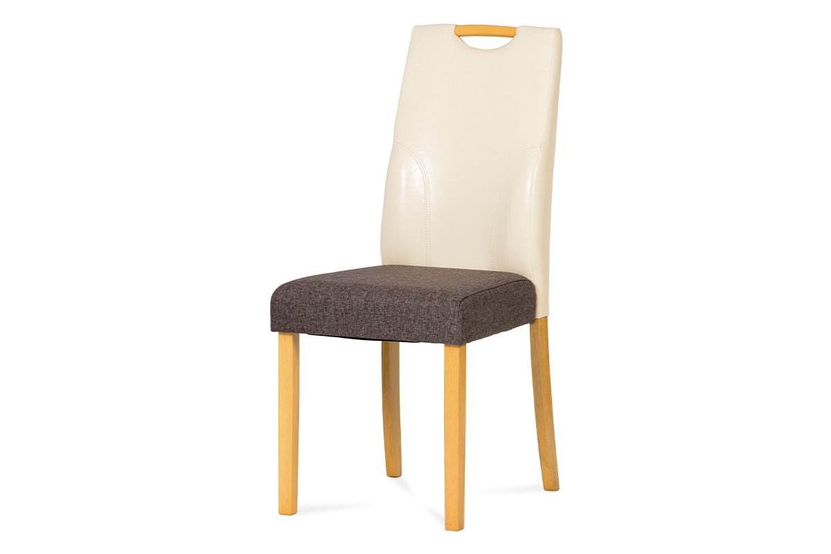 jedálenská stolička buk, sedák látka siva, opierka koženka krémová