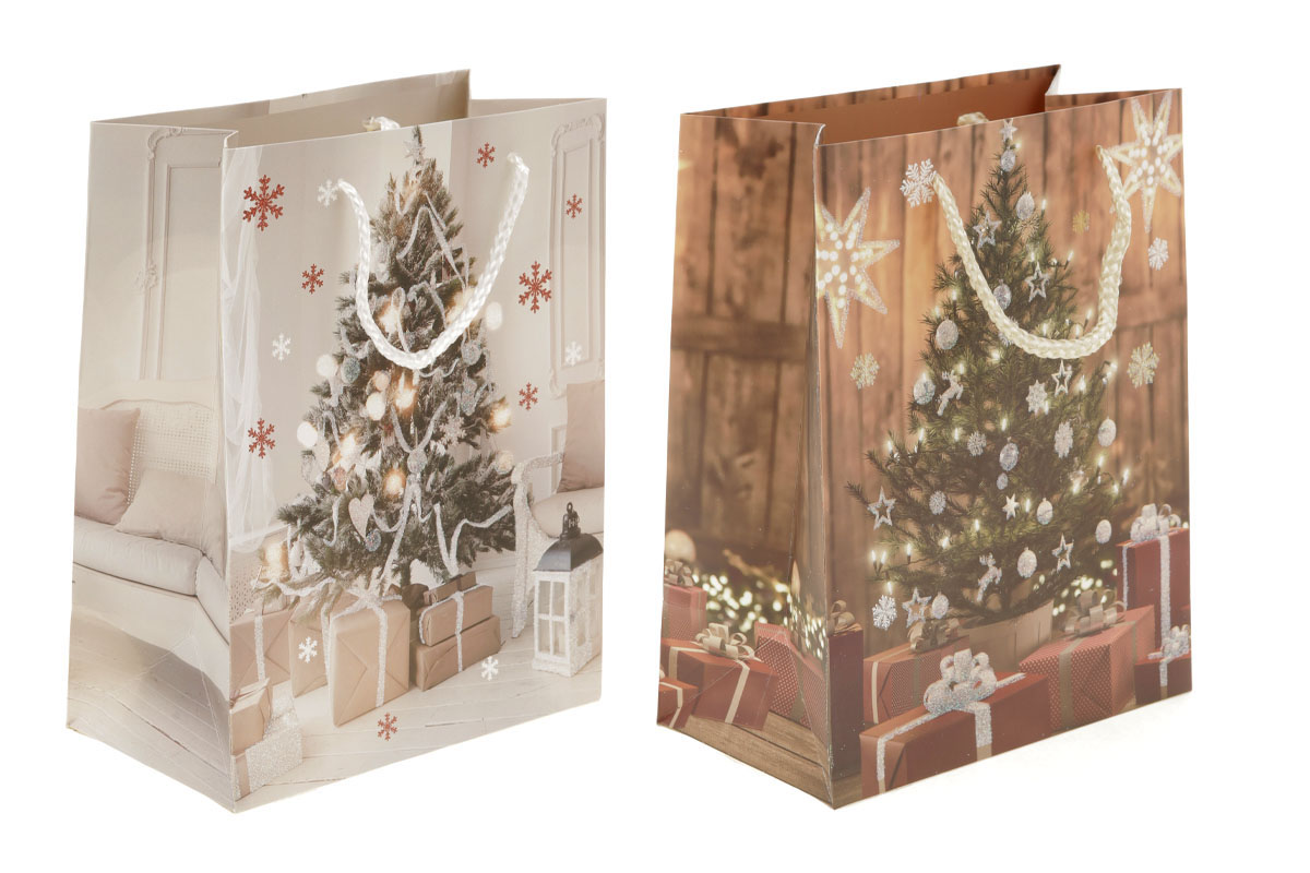 Taška dárková papírová, vánoční motiv  s glitry, mix 4 druhů