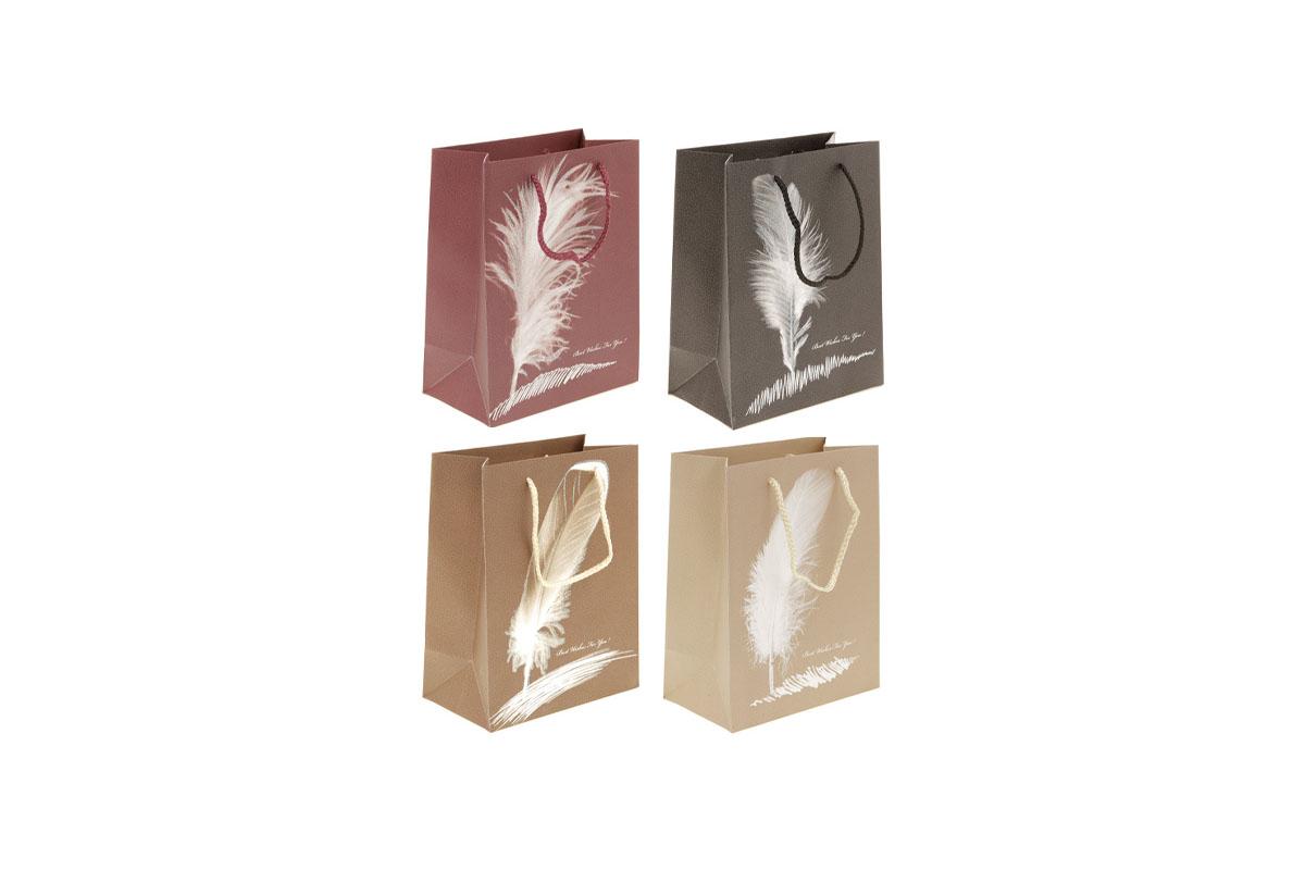 Darčeková papierová taška s trblietkami, mix 4 druhov
