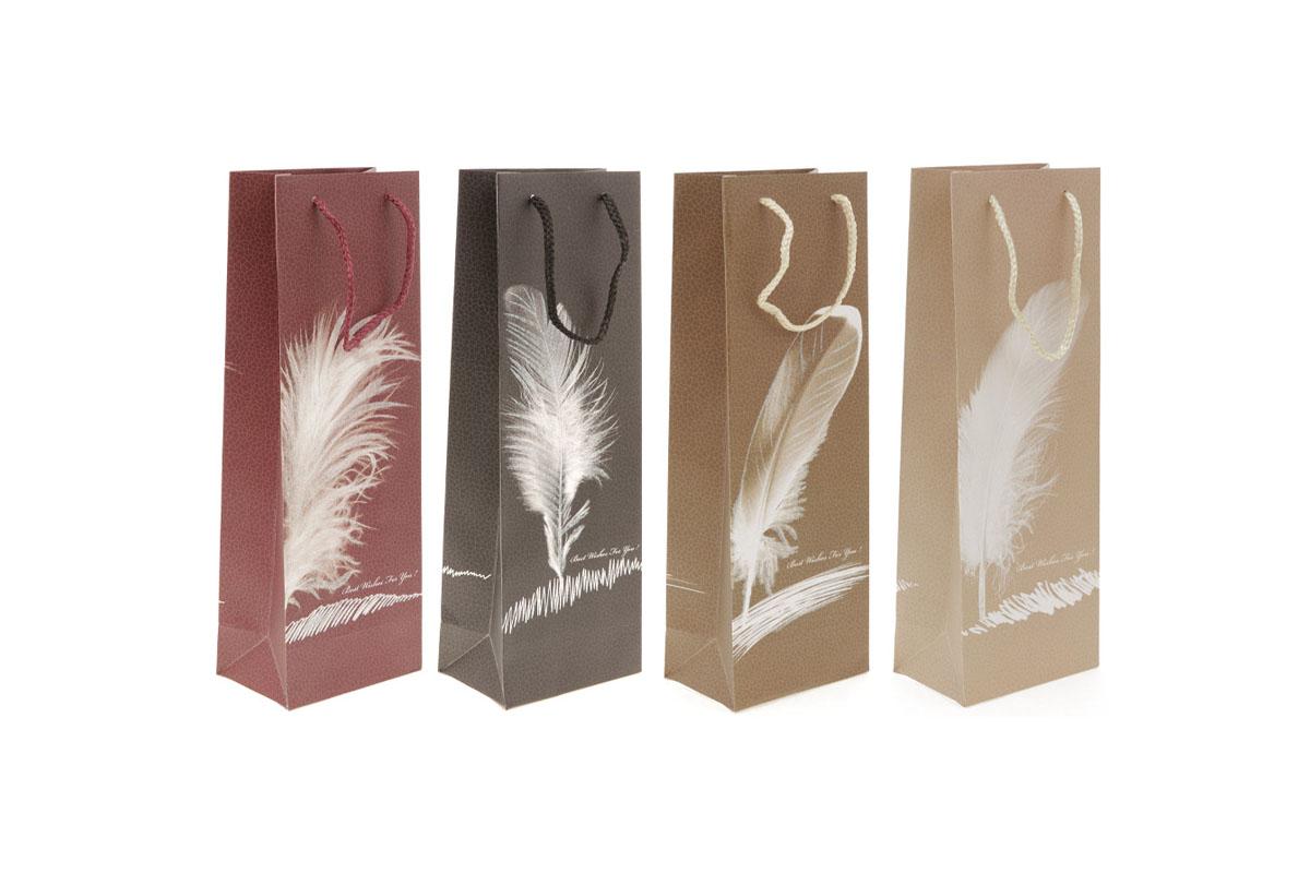 Taška dárková papírová s glitry, na víno,  mix 4 druhů
