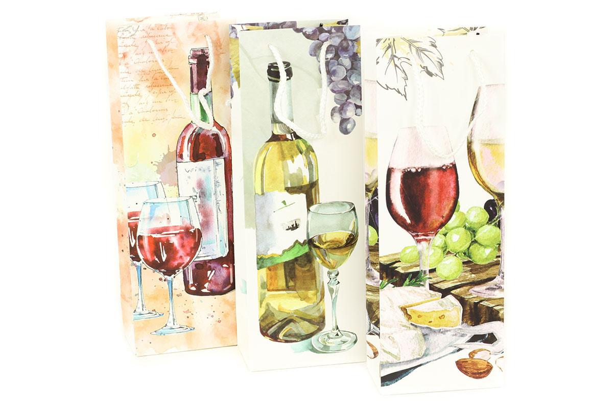 Taška dárková papírová na víno, mix 3 druhů