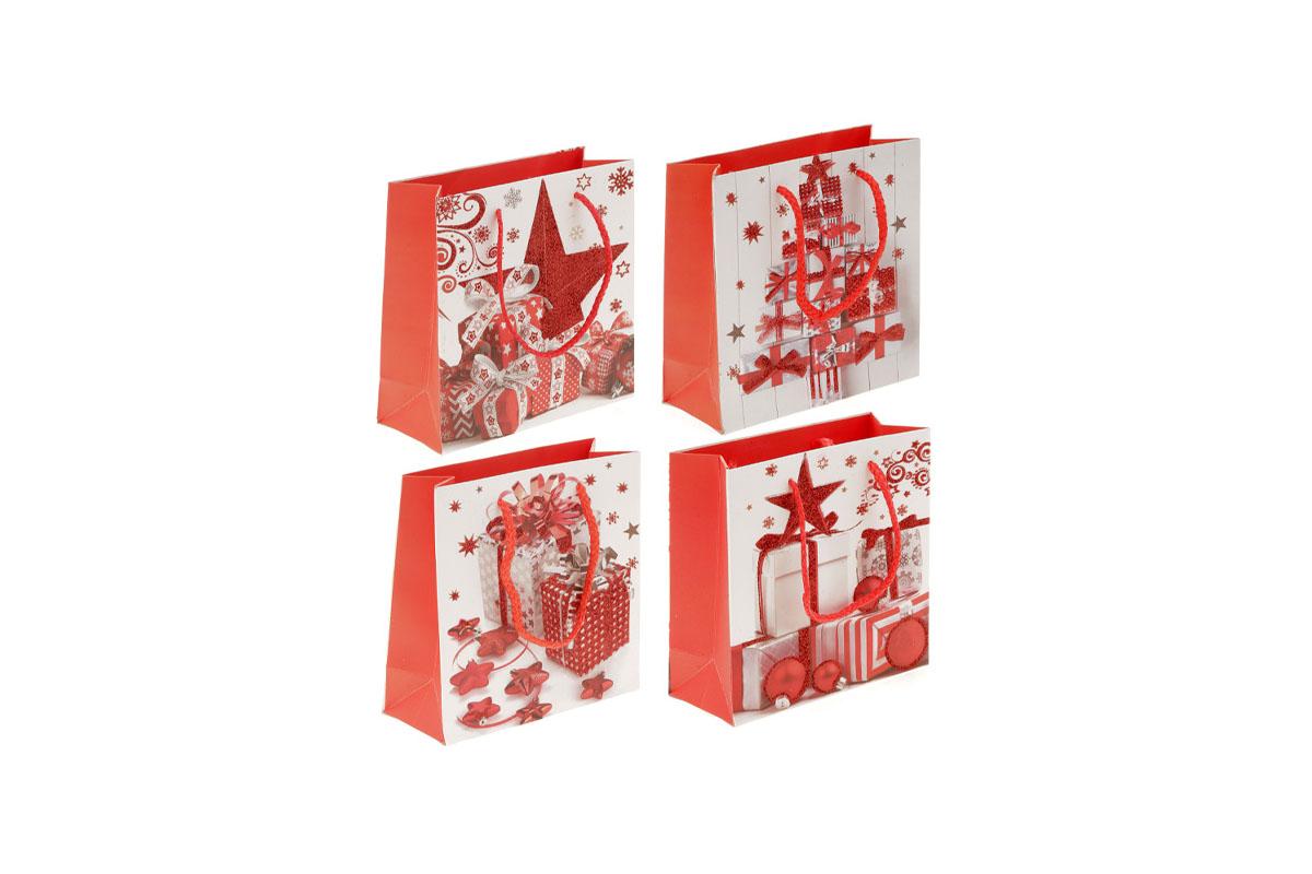 Taška darčeková papierová, vianočný motív, mix 4 druhov, cena za 1 kus