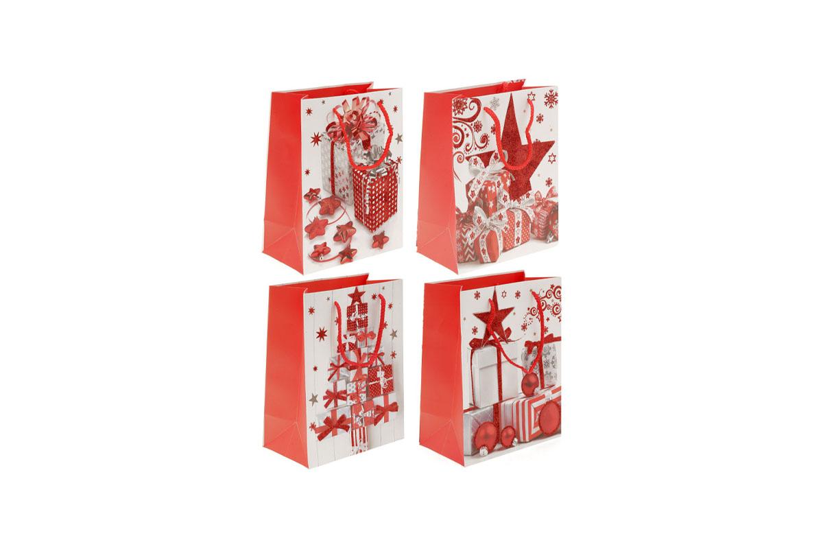 Taška dárková papírová,vánoční motiv s glitry, mix 4 druhů, cena za 1 kus