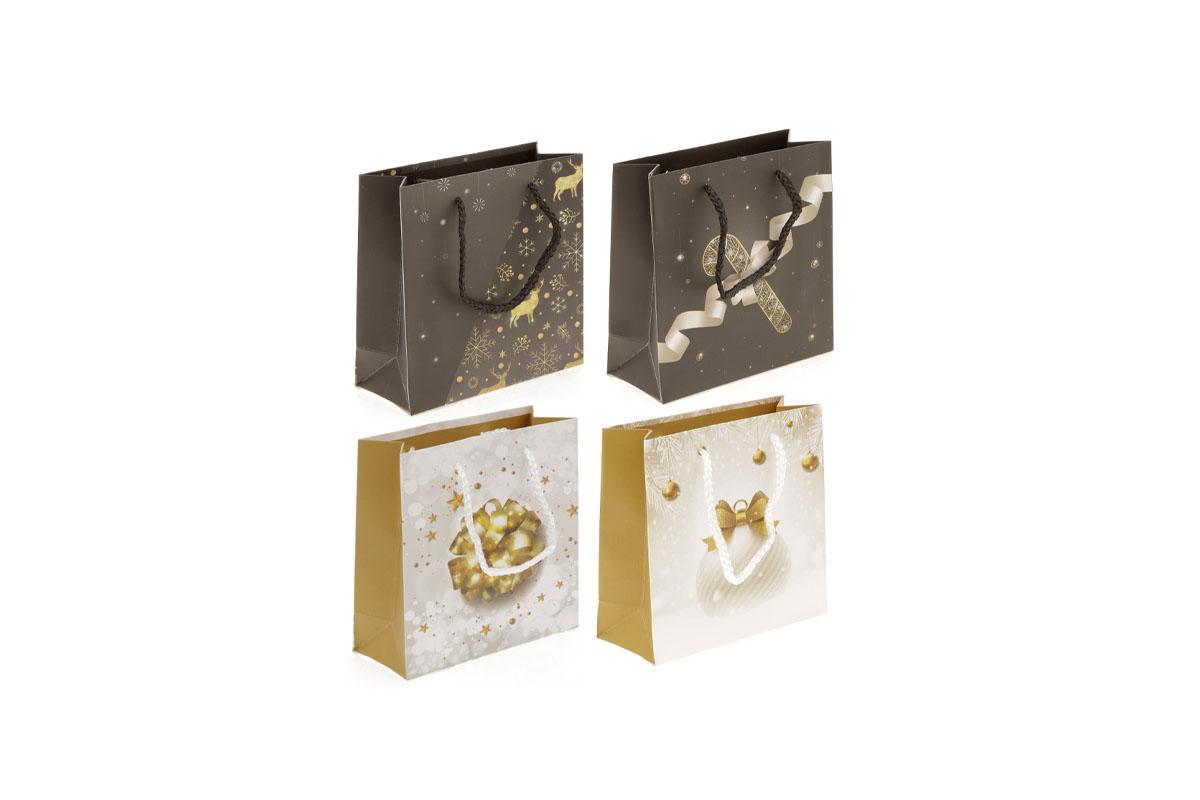Taška dárková papírová,vánoční motiv, mix 4 druhů, cena za 1 kus
