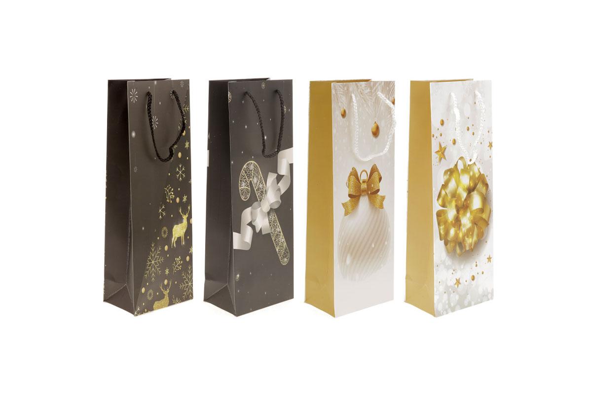 Taška dárková papírová,vánoční motiv s glitry, na víno,  mix 4 druhů, cena za 1 kus
