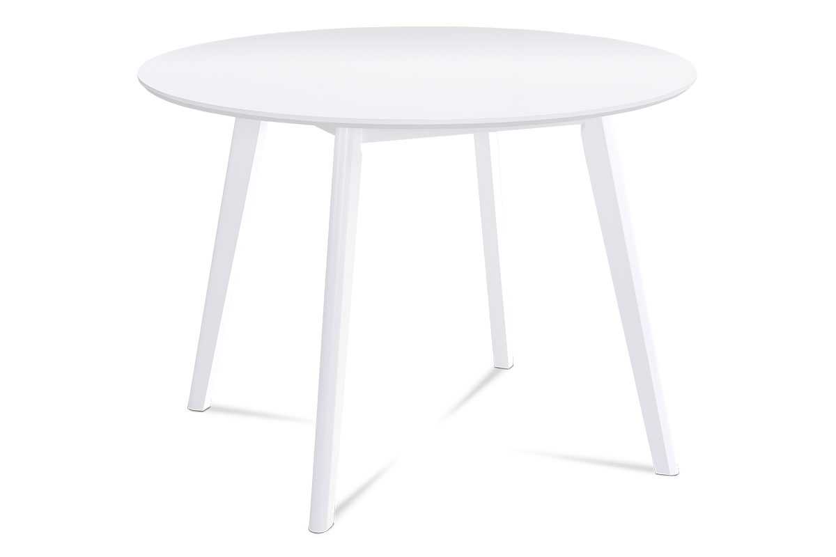 Dining table round, R106, WHITE color, 18mm MDF, Slanting leg