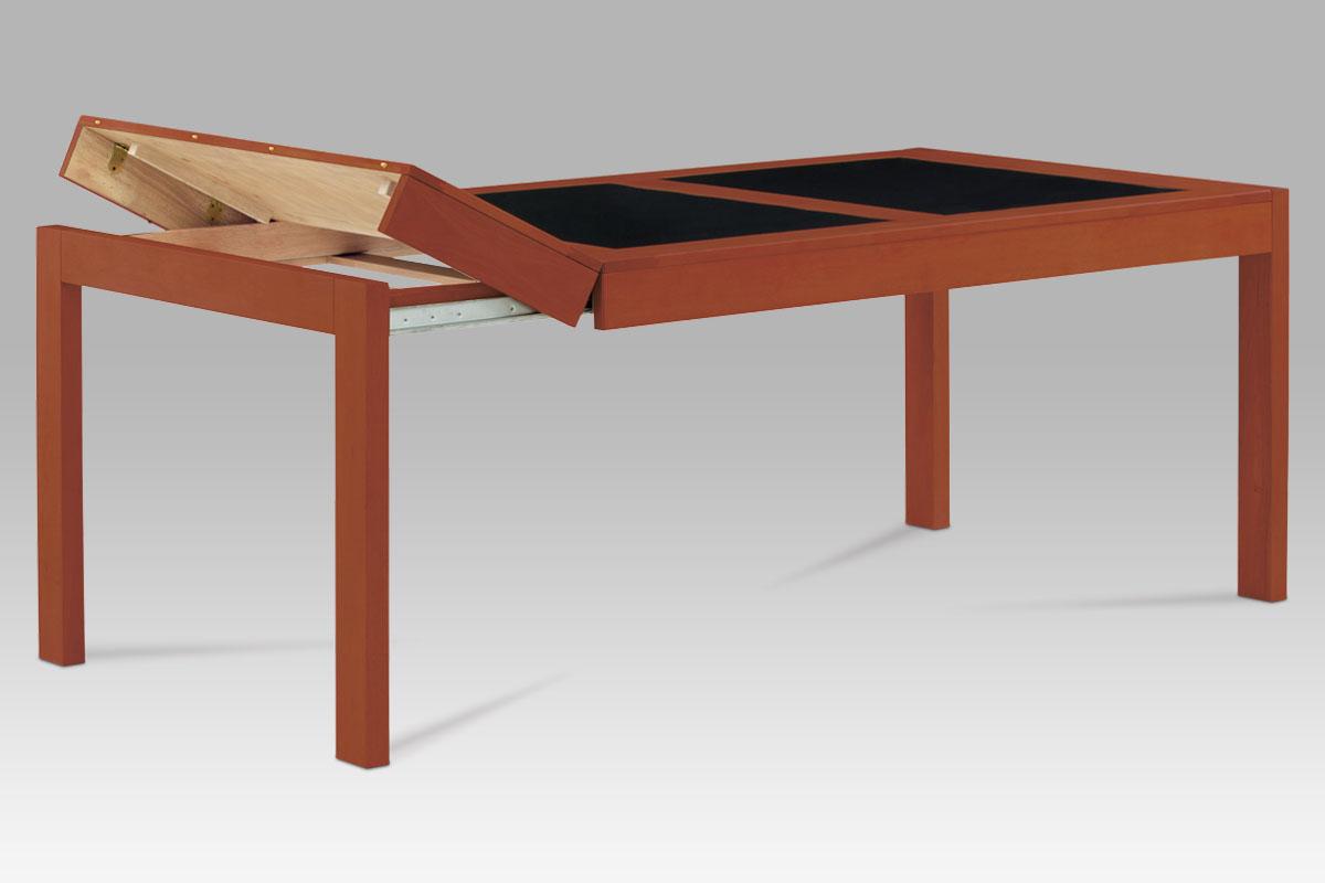 JEDÁLENSKÝ STôL ROZLK.FARBA ČEREŠŇA/ČIERNE SKLO 160+40+40x90cm