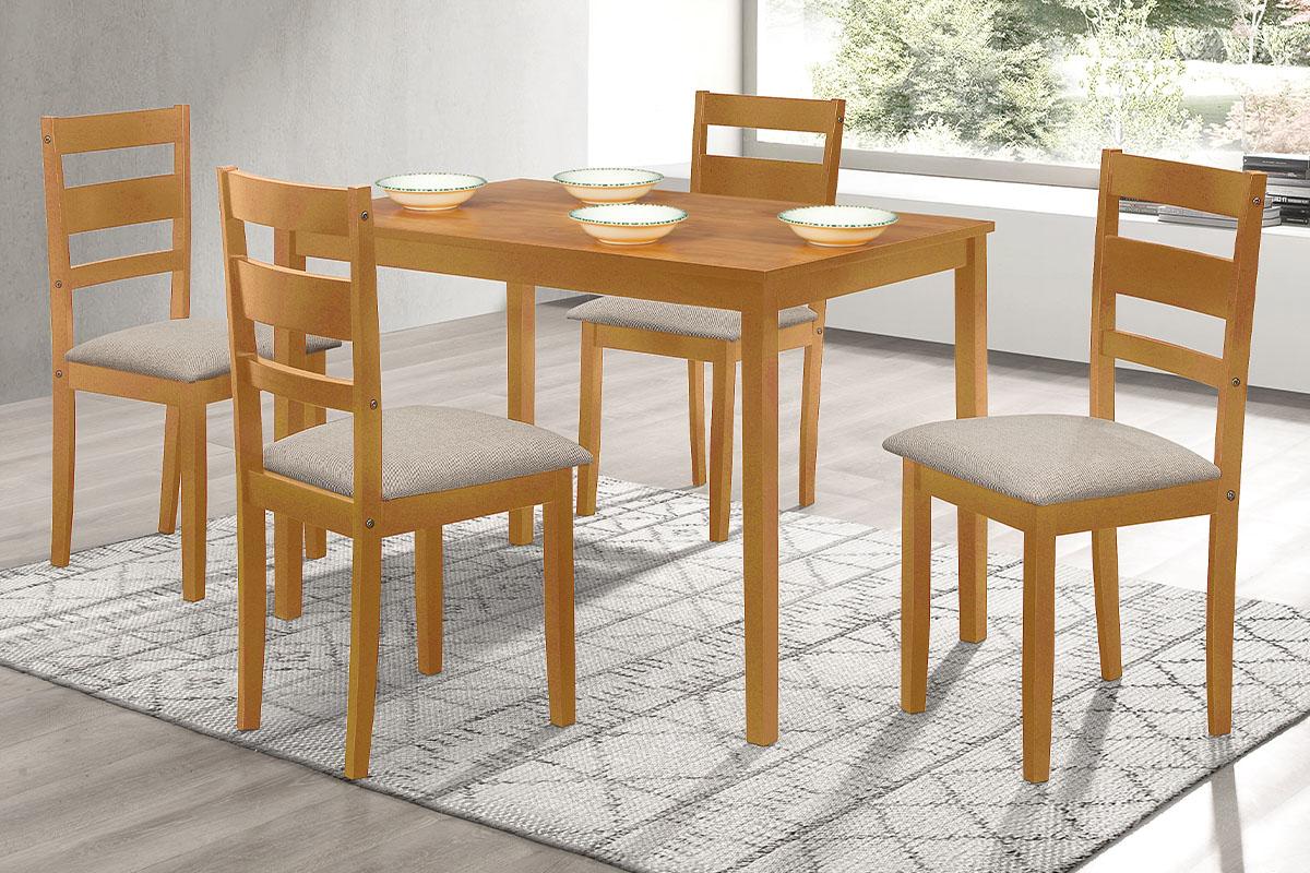 set 1+4, table 120x75x75, MDF Laminated with OAK Wood Veneer, fabric D123