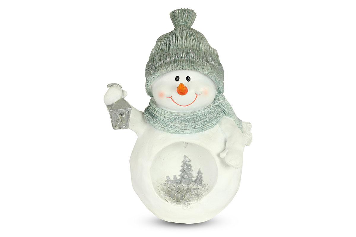 Snehuliak s LED svetlom, dekorácia z polyresinu
