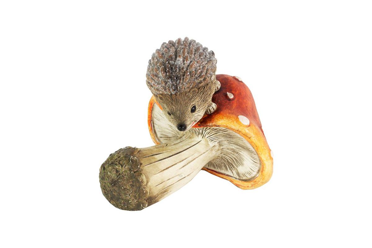 Hríbik s ježkom, dekorácia z polyrezinu