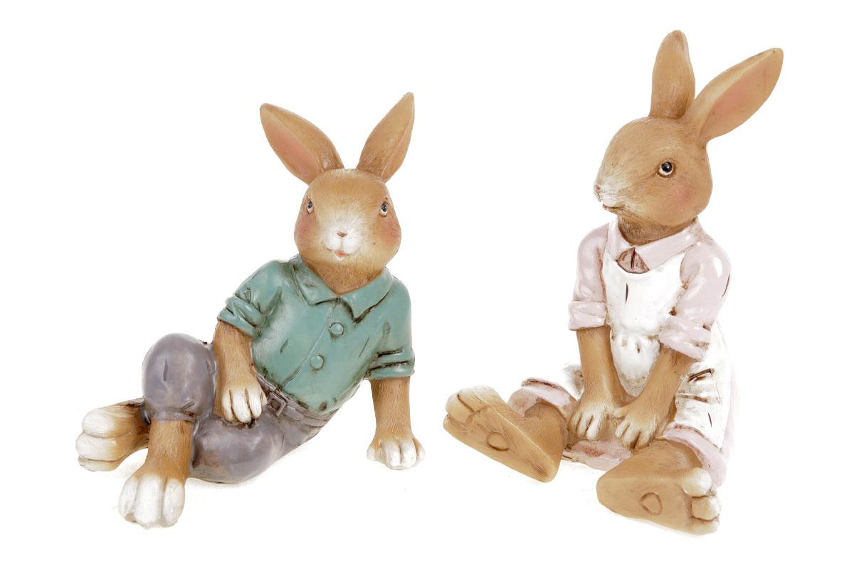 Zajíc nebo zaječice, polyresinová dekorace na posazení, cena za jeden kus