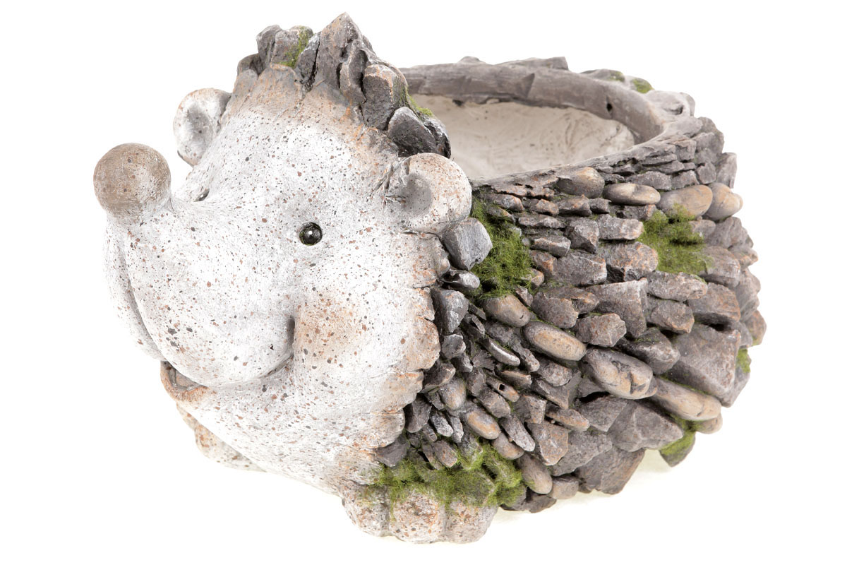 Ježek,dekorace z MgO keramiky s otvorem na květináč