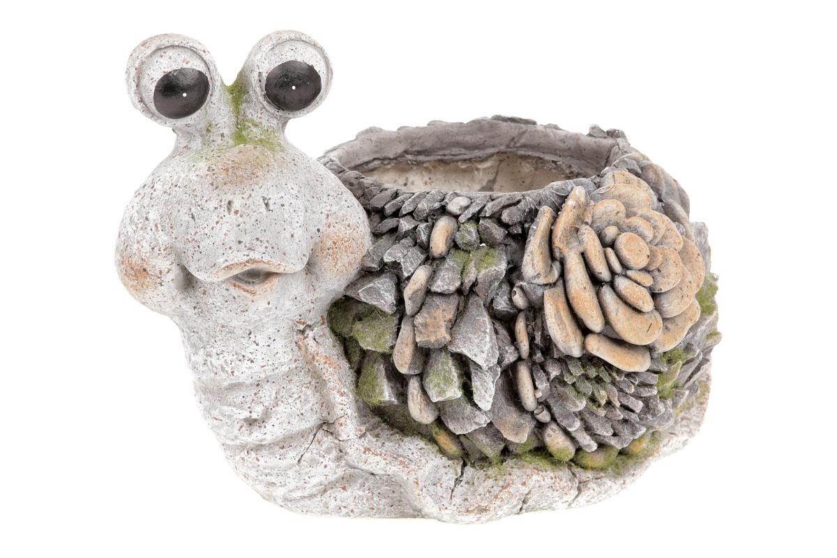 Šnek,dekorace z MgO keramiky s otvorem na květináč