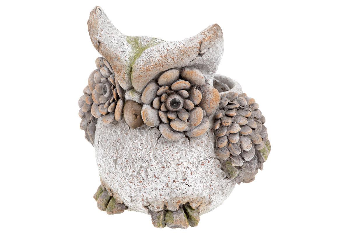 Sova,dekorace z MgO keramiky s otvorem na květináč