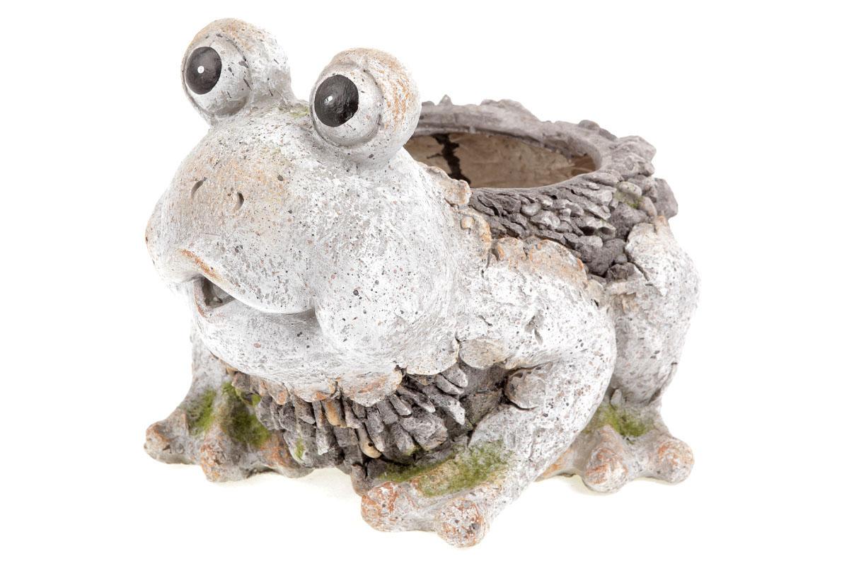 Žába,  dekorace z MgO keramiky s otvorem na květináč