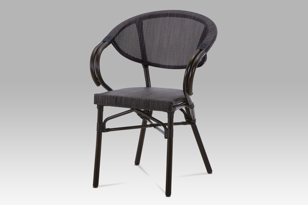 Outdoor chair, Dark brown Steel frame, Black Textilen