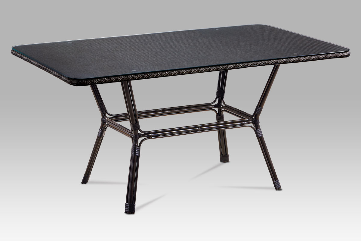 Outdoor table, Dark brown Steel frame, Black Textilen