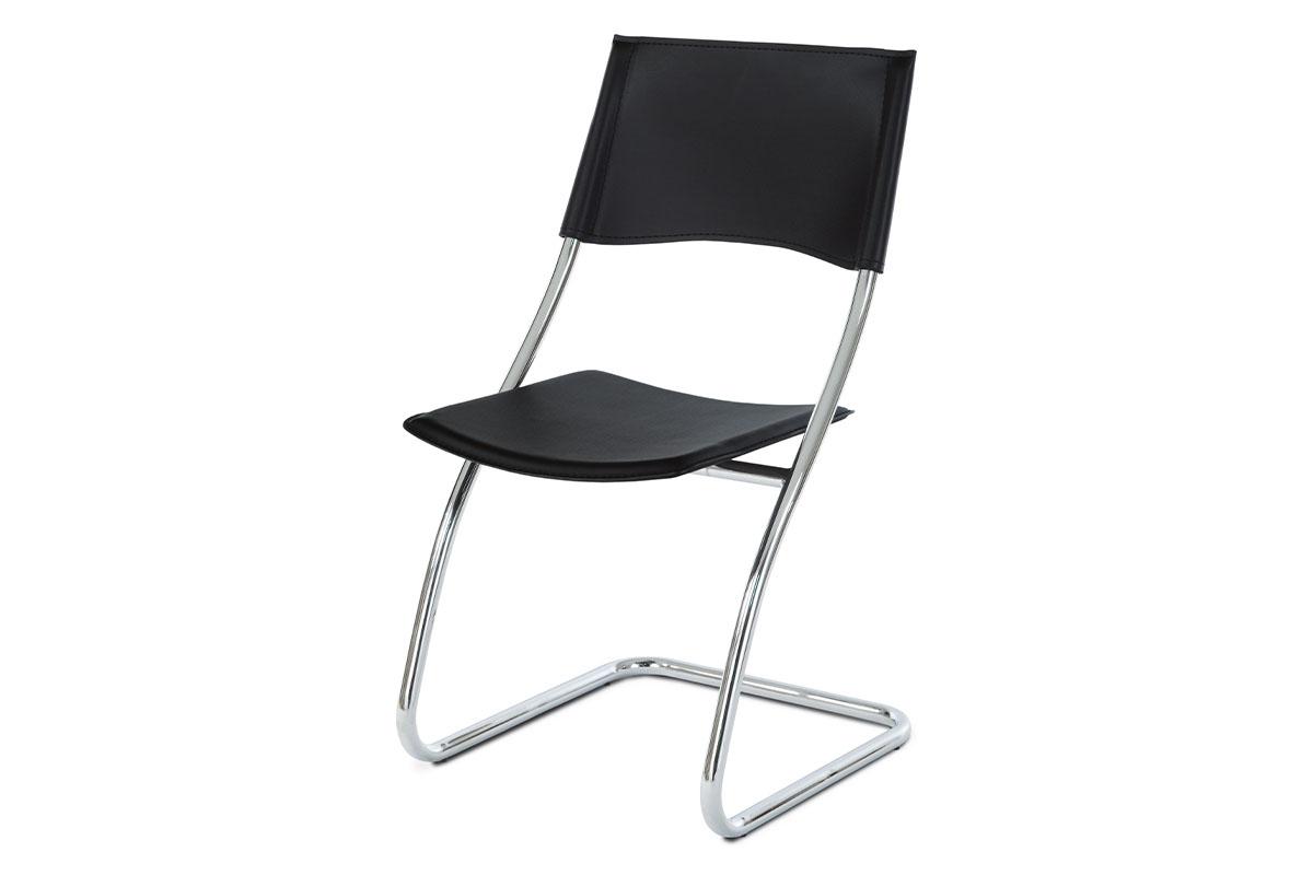 jedálenská stolička, koženka čierna, chróm-B161 BK