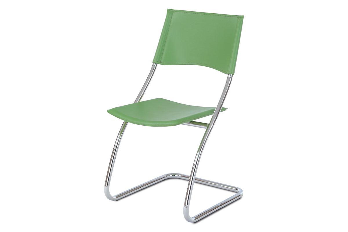 jedálenská stolička, koženka zelená, chróm-B161 GRN