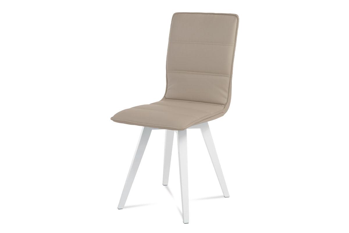jedálenská stolička, koženka kapučíno, vysoký lesk biely