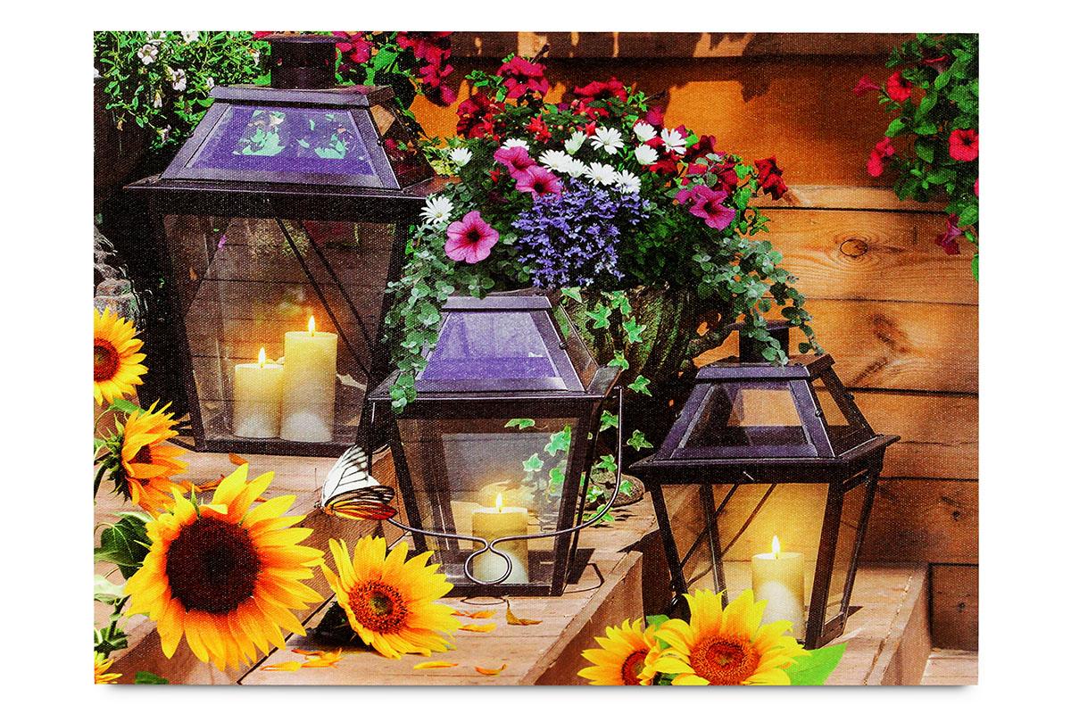 Obraz nástěnná svítící dekorace - 4 ks LED.