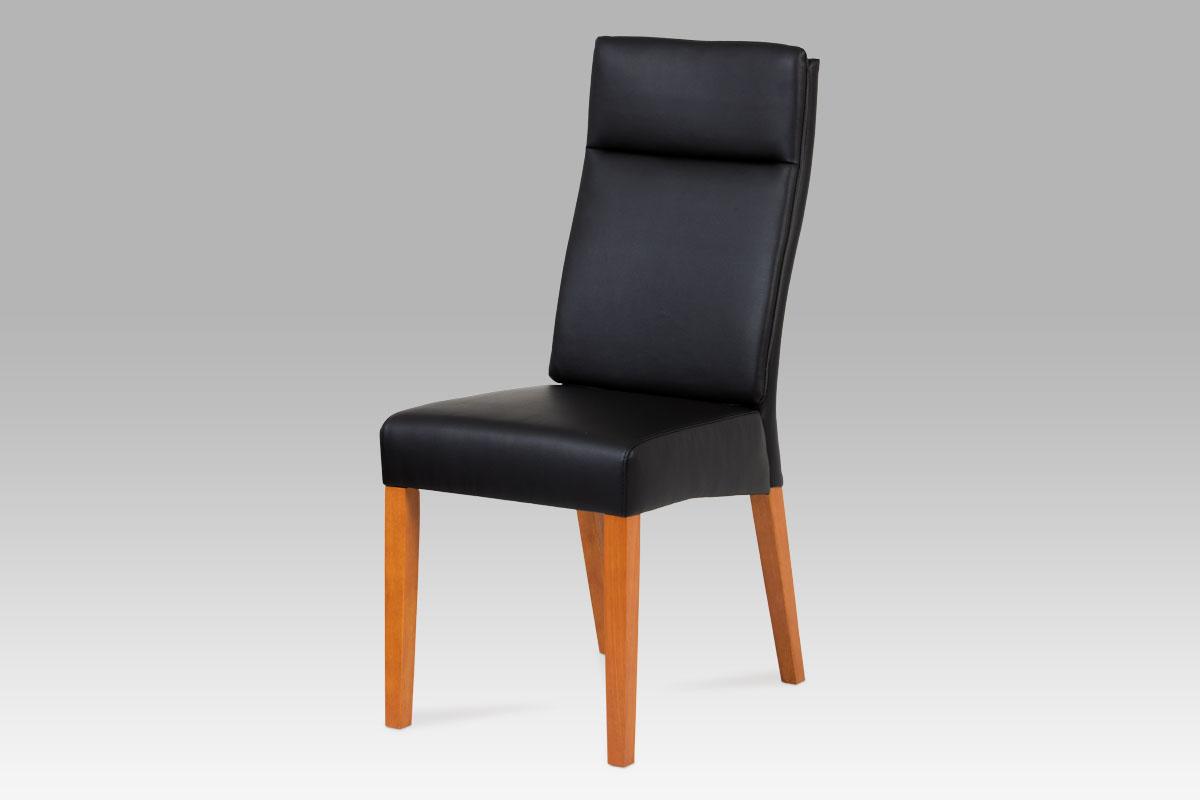 jedálenská stolička, čerešňa,  koženka čierna