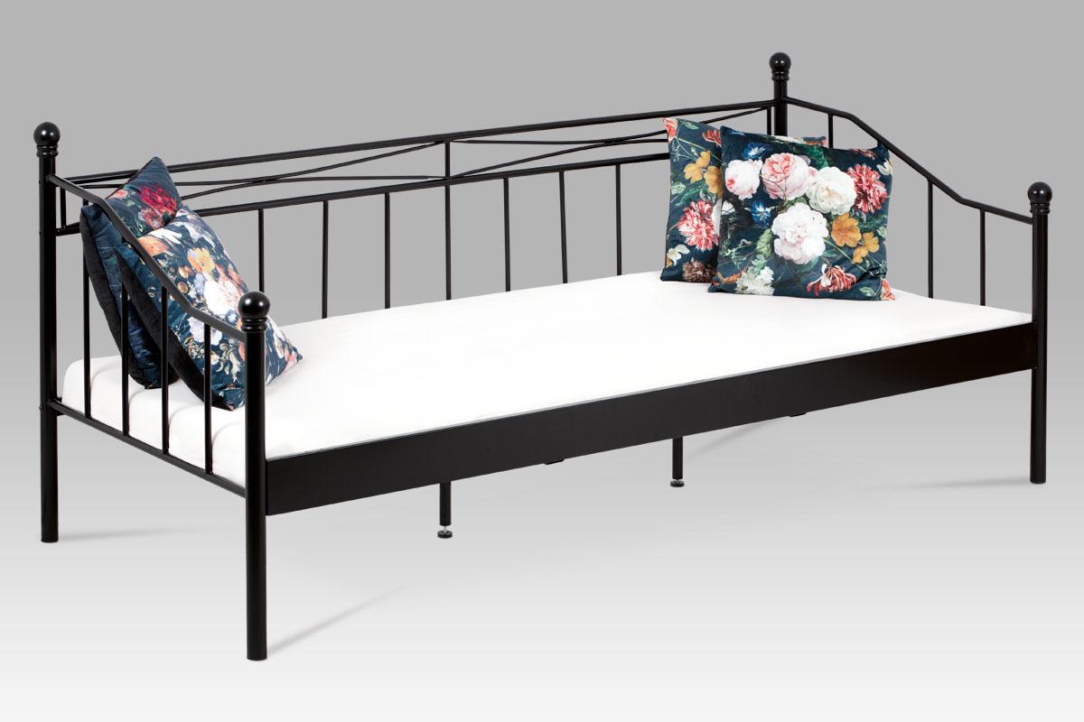 posteľ jednolôžková 90x200, kov čierny matný