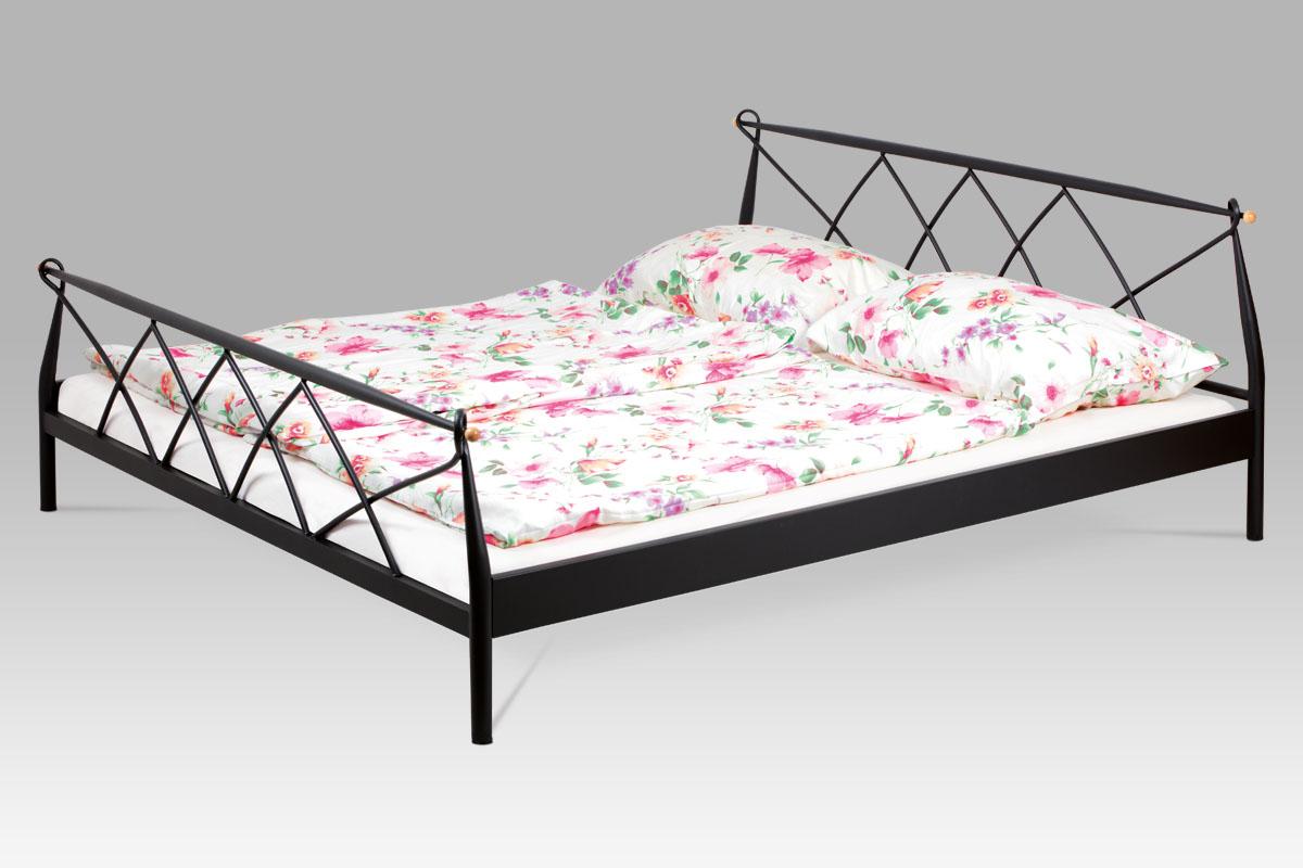 posteľ dvojlôžková, 180x200, kov matný čierny
