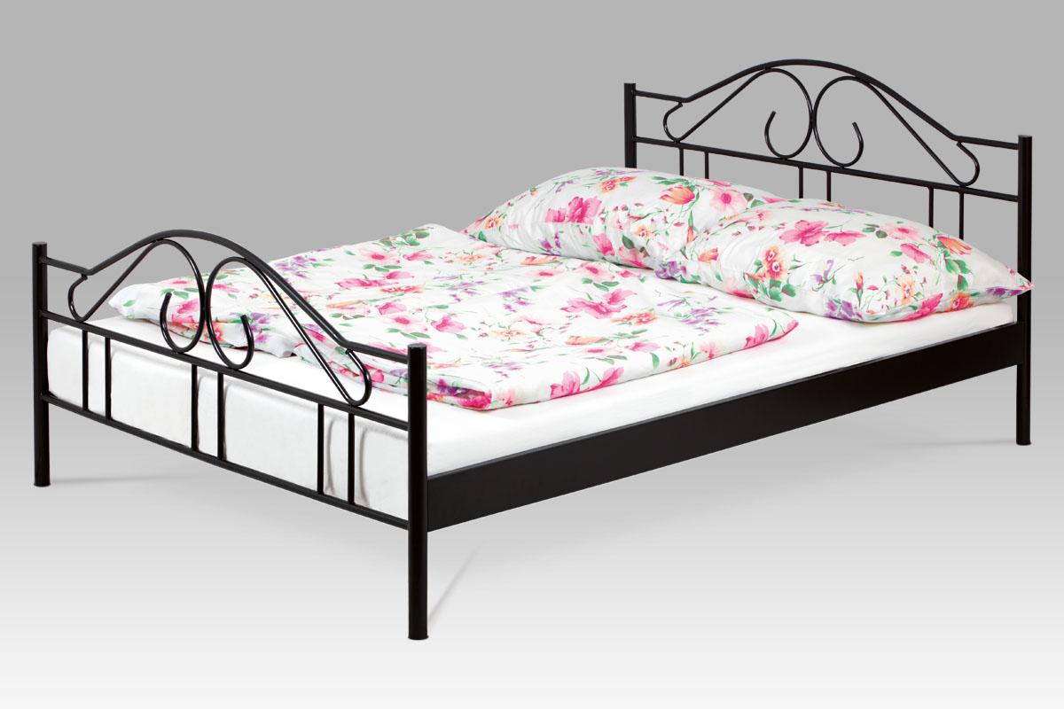 posteľ dvojlôžková, 140x200, kov černý lesk
