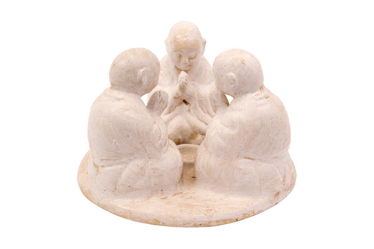 Sousoší 3 budhů, na svíčku, barva bílá