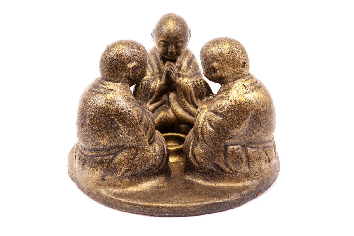 Sousoší 3 budhů, na svíčku, barva bronz