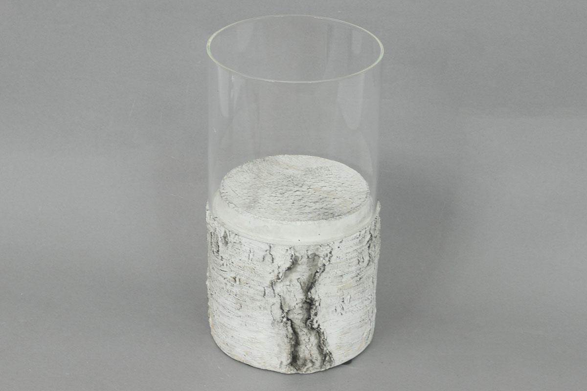 Svícen ze skla a betonu s dekorem břízy