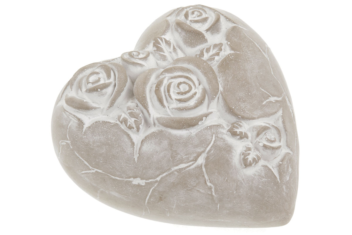 Srdce na položení, dekorace z betonu s dekorem růží
